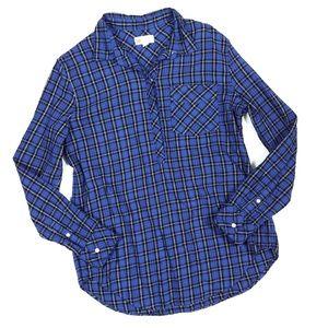 Gap Boyfriend Fit Plaid Half Button Down Shirt